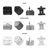 Lakes, mountains, the tower of SI-EN and other symbols of Canada.Canada set collection icons in black,monochrome,outline. Style vector symbol stock illustration royalty free illustration