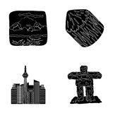 Lakes, mountains, the tower of SI-EN and other symbols of Canada.Canada set collection icons in black style vector Stock Photo