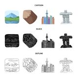 Lakes, mountains, the tower of SI-EN and other symbols of Canada.Canada set collection icons in cartoon,black,outline. Style vector symbol stock illustration vector illustration