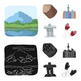 Lakes, mountains, the tower of SI-EN and other symbols of Canada.Canada set collection icons in cartoon,black style. Vector symbol stock illustration vector illustration