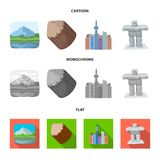 Lakes, mountains, the tower of SI-EN and other symbols of Canada.Canada set collection icons in cartoon,flat,monochrome. Style vector symbol stock illustration royalty free illustration