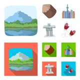 Lakes, mountains, the tower of SI-EN and other symbols of Canada.Canada set collection icons in cartoon,flat style. Vector symbol stock illustration vector illustration