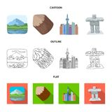 Lakes, mountains, the tower of SI-EN and other symbols of Canada.Canada set collection icons in cartoon,outline,flat. Style vector symbol stock illustration royalty free illustration