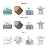 Lakes, mountains, the tower of SI-EN and other symbols of Canada.Canada set collection icons in cartoon,outline. Monochrome style vector symbol stock vector illustration