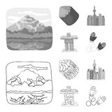 Lakes, mountains, the tower of SI-EN and other symbols of Canada.Canada set collection icons in outline,monochrome style. Vector symbol stock illustration vector illustration
