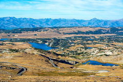 Lakes and Mountains. View of lakes and mountains in the Shoshone National Forest in the Beartooth Mountains in Montana and Wyoming Stock Photos
