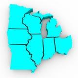 Lakes-Region der Zustände - Karte 3d Lizenzfreie Stockfotos