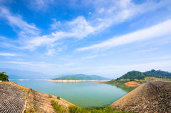 Lakes reservoir for hydropower plant near Da Mi, Lam Dong Royalty Free Stock Image