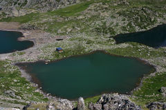 Lakes Robert. The three green Lakes Robert in the mountain massif of Chamrousse, in the middle of the chaine of Belledonne in the French Alps Royalty Free Stock Photography