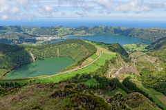 Lakes of Santiago and 7 cidades. Azores, Portugal Stock Photo