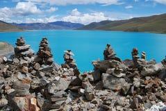 Lakes in  Tibet. Yanmdrok lake in Gyantse,Tibet Royalty Free Stock Image
