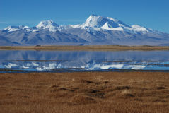 Lakes in  Tibet. Manasarovar  lake and Mt.Namunani Stock Photography