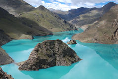 Lakes in  Tibet. Yanmdrok lake in Gyantse,Tibet Stock Images