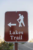 Signpost. Lakes trail signpost in red royalty free stock image