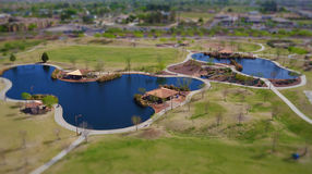 Lakes & Trails @ a Local Park (Tilt-Shift Effect Picture) Royalty Free Stock Images