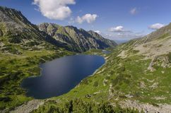 Lakes in valley. Valley of the five polish lakes in Tatra stock image