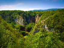 Lakes and waterfalls in Plitvice Lakes National Park stock photos