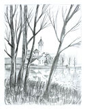 Lakescape. Lake landscape drawn in pencil Royalty Free Stock Image