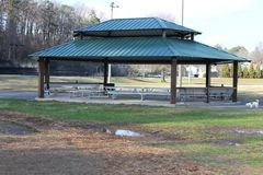 Lakeshore Dog Park picnic house. Beautiful day at Lakeshore have a Dog Park perfect to have a picnic with friends and family Royalty Free Stock Photo