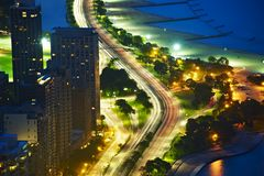 Lakeshore Dr Chicago. Lakeshore Drive Chicago at Night. Bird Eye View. Chicago, Illinois, USA. American Cities Photo Collection Stock Photos