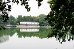 Lakeshore park. A Chinese lakeshore park with traditional style building Stock Photography