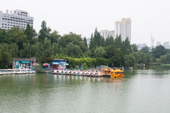 Lakeshore park. A Chinese lakeshore park with traditional style building Royalty Free Stock Photography