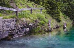 Lakeshore plats av en klar liten vik en natur i bakgrunden fotografering för bildbyråer