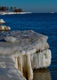 Lakeshore vista di inverno Fotografia Stock