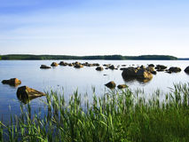 Peaceful lakeside with blue sky Royalty Free Stock Photography