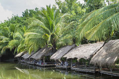 Lakeside bamboo shack restaurant near phnom penh cambodia Stock Photos