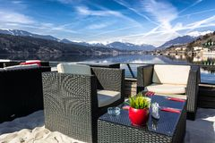 Lakeside bar with a mountain view Stock Photography