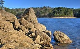 Lakeside boulders of Lake Allatoona, Red Top Mountain State Park, Georgia, USA Royalty Free Stock Image