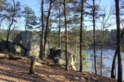 Lakeside boulders of Lake Allatoona, Red Top Mountain State Park, Georgia, USA Royalty Free Stock Images