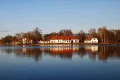 Lakeside buildings Stock Images