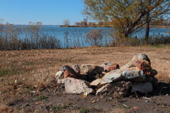 Lakeside Campfire Area Royalty Free Stock Images