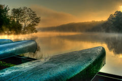 Lakeside Canoes in HDR Stock Photo