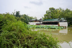 Lakeside Chinese traditional buildings in cloudy summer Stock Images