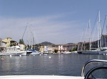 Lakeside City 4. City of Port grimaud also called Venice of the french riviera in the Saint Tropez gulf, France. 12 km of piers lined with cafes and villas where royalty free stock image