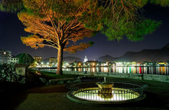 Lakeside city at nigh Stock Photography