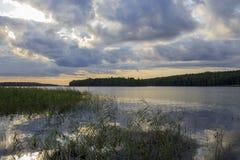 Lake on a cloudy morning. Beautiful landscape. stock image