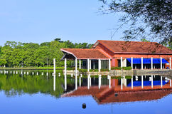 Lakeside clubhouse. View of clubhouse by lakeside Royalty Free Stock Image