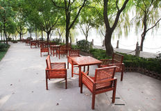 Lakeside desks and chairs Royalty Free Stock Images