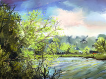 Lakeside - Digital Painting. Digital painting of a lake surrounded by bright green trees under a cloudy sky Stock Image