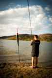Lakeside fishing Royalty Free Stock Image