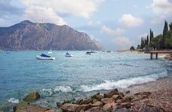 Lakeside of garda lake near malcesine, italy Royalty Free Stock Photo