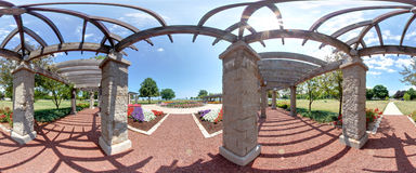 Lakeside Garden Arbor Panorama. Lakeside Garden Arbor along Lake Michigan Royalty Free Stock Photo