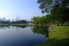 Lakeside Garden Park. A beautiful peaceful lakeside garden park in the early morning Royalty Free Stock Photography
