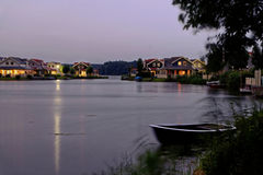 Lakeside holiday homes night scenery Royalty Free Stock Photos
