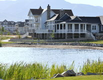 Lakeside home and surrounding property. Royalty Free Stock Image