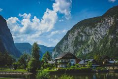 Hallstatt lakeside homes royalty free stock photos